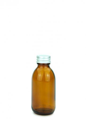 Glas Sirupflasche braun 125 ml Gewinde PP28 mit Alu Schraubkappe 28/410