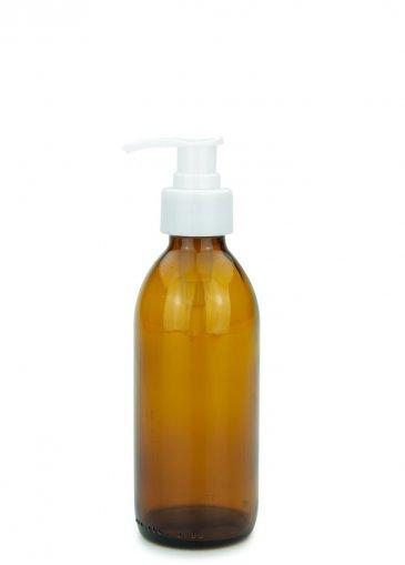 Glas Veralflasche braun 200 ml Gewinde PP28 mit Seifenpumpe weiß, 28/410 glatt