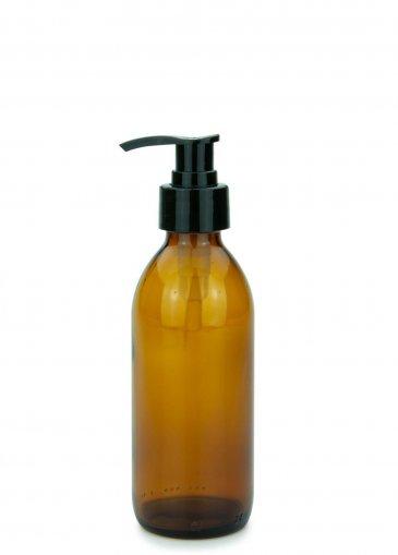 Glas Veralflasche braun 200 ml Gewinde PP28 mit Seifenpumpe schwarz, 28/410 glatt