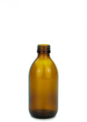 Glas Sirupflasche braun 250 ml Gewinde PP28 ohne Verschluss