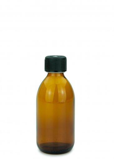 Glas Sirupflasche braun 250 ml Gewinde PP28 mit Schraubverschluss 28 ROPP Originalität KISI schwarz