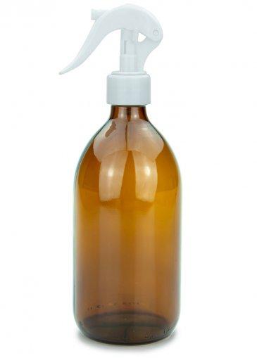 Glas Sirupflasche braun 500 ml mit Gewinde PP28 mit Mini Trigger Sprayer weiß, 28/410 glatt