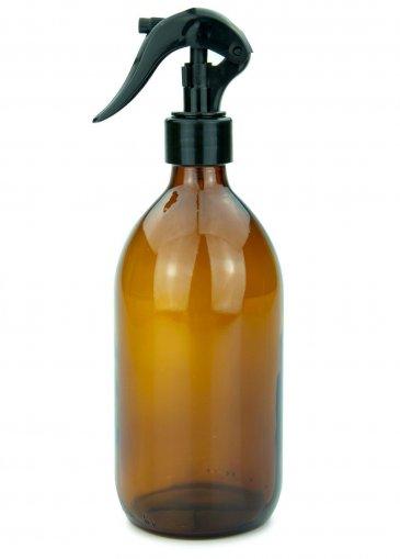 Glas Sirupflasche braun 500 ml mit Gewinde PP28 mit Mini Trigger Sprayer schwarz, 28/410 glatt