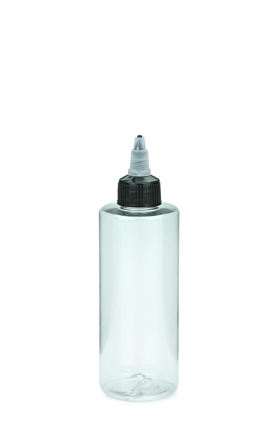 5963cb31bcf6 PET cosmetic bottle LEONORA 200 ml clear with with twist top cap  natural/black 24/410